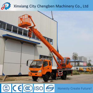 Hydraulic Mobile Truck Crane with Basket for Sale pictures & photos