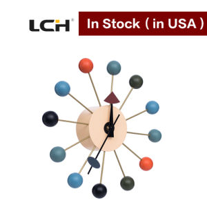 Wooden Ball Wall Clock Aluminum Center in Stock pictures & photos