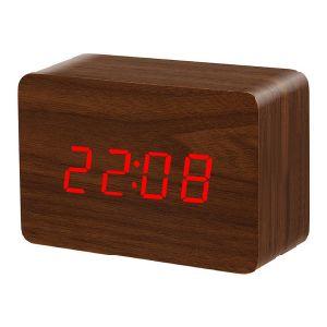 Mini Digital Alarm Clock Temperature Display LED Wooden Digital Clock