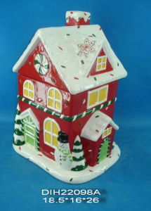 Hand-Painted Ceramic Christmas House Cookie Jar pictures & photos