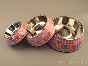 Kt Cat Pattern Melamine&Stainless Steel Pet Dog Bowl pictures & photos