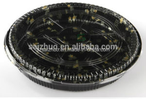 Round Floral Printed Top Grade Disposable Plastic Sushi Tray (S64R) pictures & photos