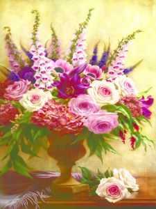 One Piece Colourful and Beautiful Flowers Frameless Canvas Painting Model No: Hx-4-060 pictures & photos