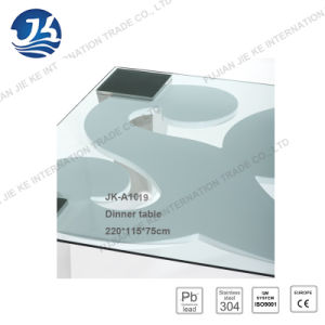 Classic Design 304 Stainless Steel Tempered Glass Square Dining Table pictures & photos