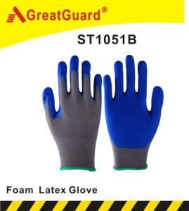 Breathable Foam Finish Latex Glove (ST1051B) pictures & photos