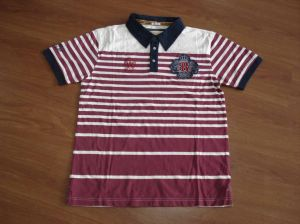 Men′s Cotton Stripe Polo Shirt