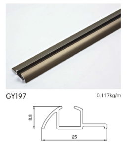 Anodised Gold Aluminum Profile Single Track for Wardrobe pictures & photos