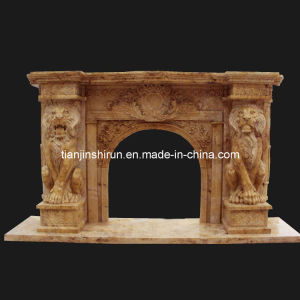 Travertine Stone Lion Carving Fireplace (FRP515) pictures & photos