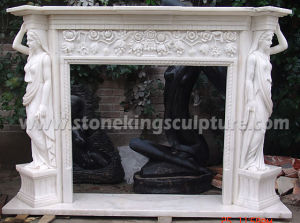 Natural White Marble Fireplace (SK-2587) pictures & photos