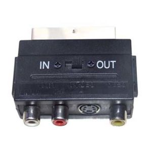 Scart Plug to 3RCA Jack and 1mini 4p Jack with Switch Adapter pictures & photos