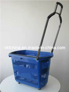 4-Wheels Rolling Shopping Basket