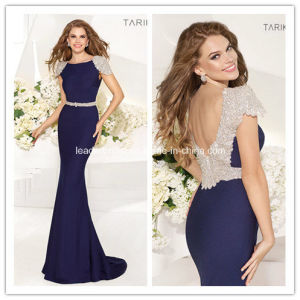 Navy Blue Crystals Beading Backless Prom Evening Dress Yao73 pictures & photos