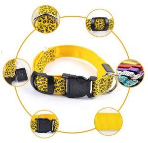Hot Sale LED Luminous Dog Collars with Leopard Print