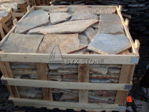 Yellow Wooden Slate Quartzite Irregular Shape Paving pictures & photos