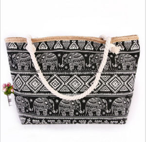 The New National Wind Cloth Fabric Handbags Fashion Printing Canvas Bag Large Capacity Travel Shoulder Bag Beach Bag pictures & photos