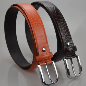 Skinny Brown Black Stylish Men′s Genuine Leather Belt (B-08) pictures & photos