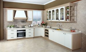 PVC Door Cheap Modern Kitchen Cabinet for High Quality (zc-073) pictures & photos