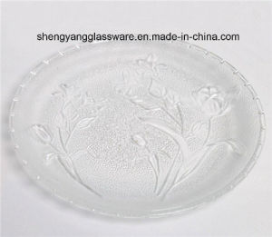Wholesale Coining Rose Glass Plate / Decorate Glass Plate for Dinnerware pictures & photos