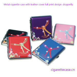 Leather Cover Metal Cigarette Case with Crystal Stone Dragonfly