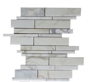 Calacatta Gold Marble Polished Random Strip Mosaic Tile Random Mosaic Tile Pattern pictures & photos