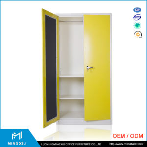 Mingxiu Steel Furniture Yellow 2 Door Steel Wardrobe Cabinet / Knock Down Metal Almirah pictures & photos