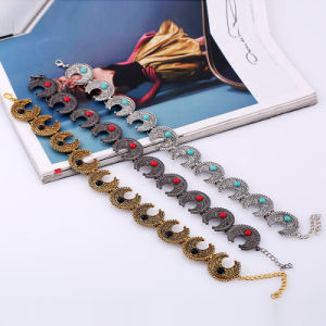 New European and American Bohemian Horn Design Inlaid Turquoise Necklace 3 Colors pictures & photos