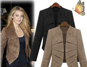 Ladies Black Fashion PU Leather Jacket Sy0008 pictures & photos