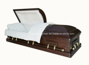 Wood Casket with Paulownia Wood and Velvet Interior pictures & photos
