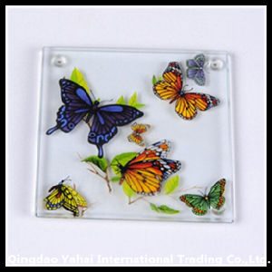 Square Tempered Glass Coaster with Butterfly Pattern pictures & photos
