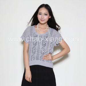 Ladies′ Knitted Sweater---Hand Crochet Pullover (CXL011)