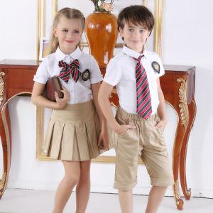 Fancy Design School Uniform White Shirts & Kaki Pants for Children pictures & photos