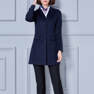 Paris Fashion Tweed Fabric Women Long Wind Winter Jacket pictures & photos