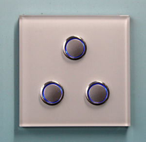 86 Glass 3-Gang Push Button Remote Light Electrical Wall Switch