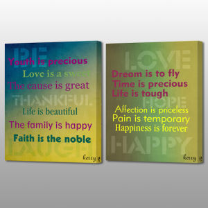 Happy Motto Print Cavas Home Decoration Art Wall Painting