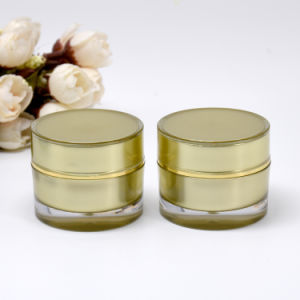 10g Golden Acrylic Double Wall Round Luxury Cosmetic Jar pictures & photos