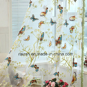 Pastoral Style Curtain Fabric with Burnt-out Butterfly pictures & photos