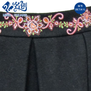 Fashion Ladies Short Embroidery Black Skirt with Pockets pictures & photos