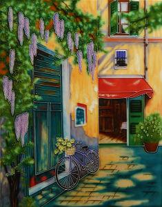 Hand Painted Ceramic Tile-Cafe D Arles