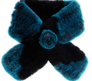 Real Rex Rabbit Fur Scarf with Rose Flower