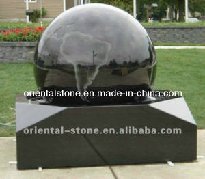 Black Granite Stone Outdoor Garden Rolling Ball Water Fountain