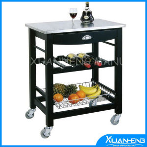 Horizontal Pressed Natural Solid Bamboo Kitchen Island Cart Trolley pictures & photos