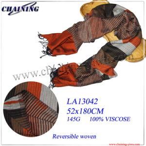 2014 Fashion Viscose Scarf with Reversible Woven (LA-WJ042)