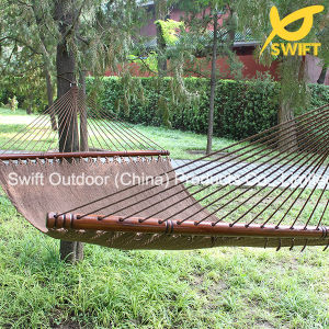 Tan Polyester Rope Hammock with Spread Rod