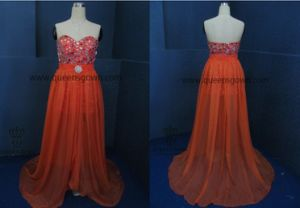 A-Line/Princess Sweetheart Floor-Length Chiffon Evening Dress with Beading pictures & photos