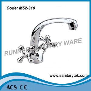 Double Handle Sink Faucet with Spout (M52-310) pictures & photos