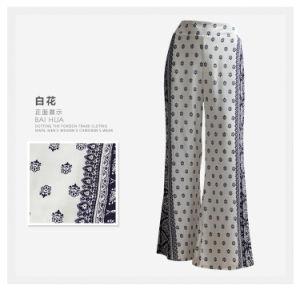 Women Clothing Fashion Flower Print Ladies Wide Leg Rayon Pants pictures & photos