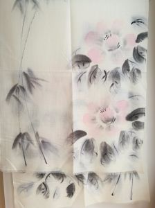 Wool Woven Gauze Hand Drawing Leaves Shawl pictures & photos