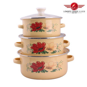 Enamel Cookware Pot Set 3PCS Enamel Pot pictures & photos