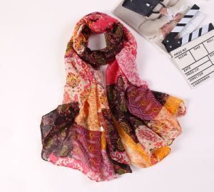 Wholesale Cotton Voile Long Printed Scarf Women pictures & photos