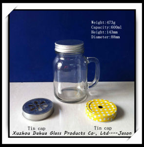600ml High Quality Glass Jar with Handle pictures & photos